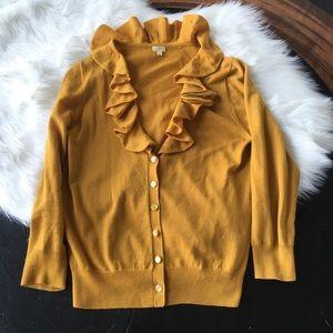 J Crew Ruffled Collar Cardigan 100% Merino Wool